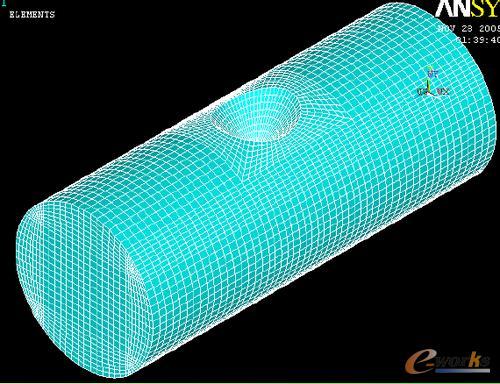 5. 圆柱与长方体的组合   如图所示的圆柱体与长方体,对其进行六面体图片